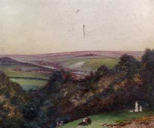 John Burall Read - Country View, Figures in the Foreground