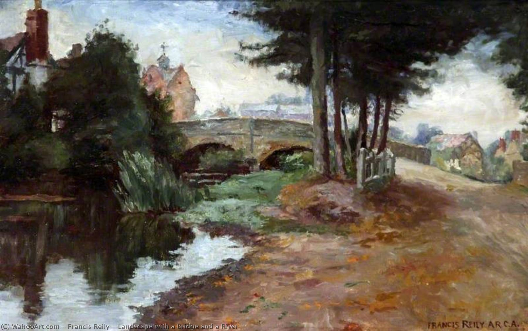 Landscape with a Bridge and a River, Oil by Francis Reily