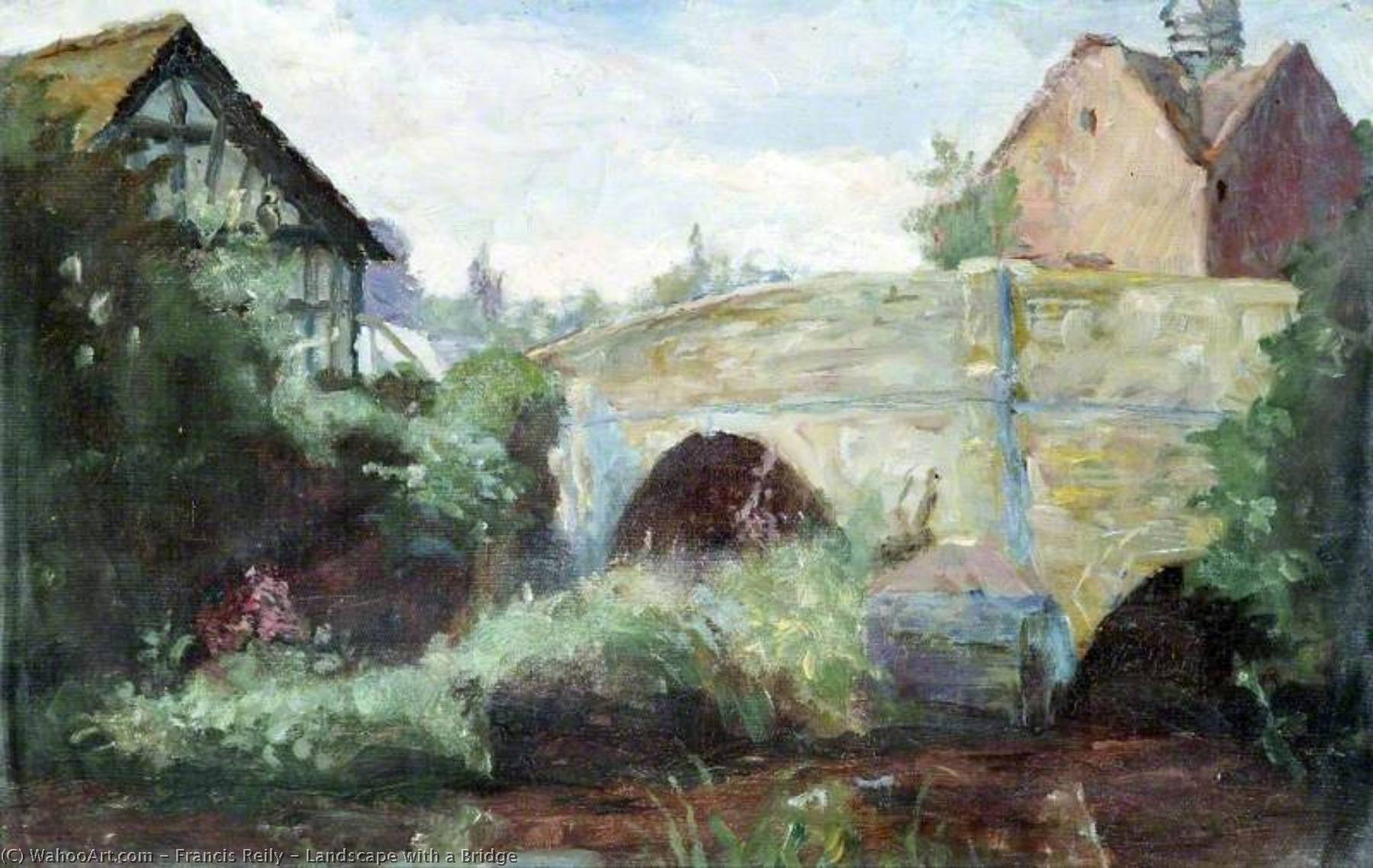 Landscape with a Bridge, Oil by Francis Reily