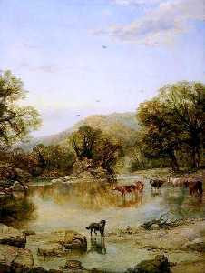 Thomas Creswick - Landscape with Cattle
