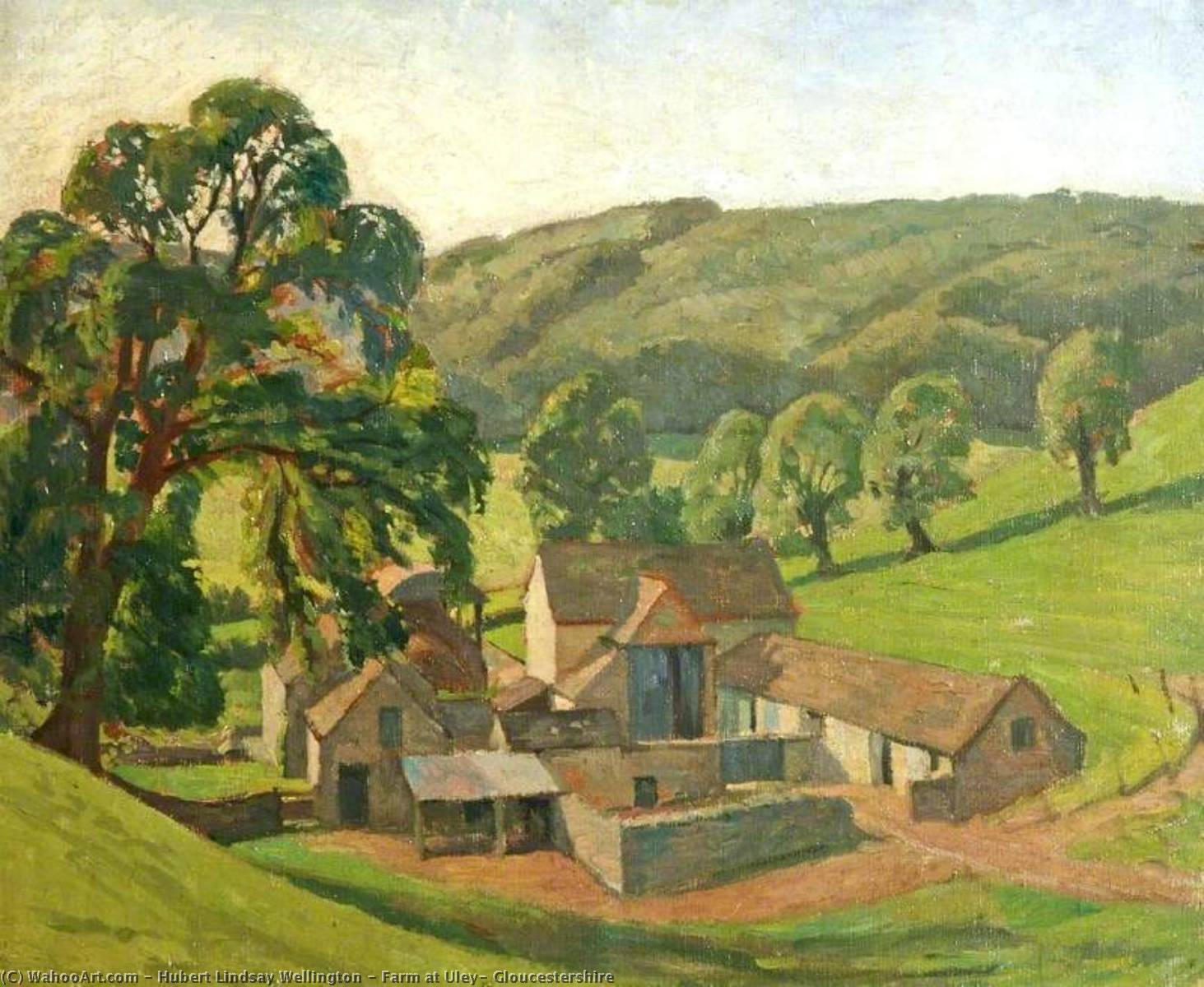 Farm at Uley, Gloucestershire, Oil On Canvas by Hubert Lindsay Wellington