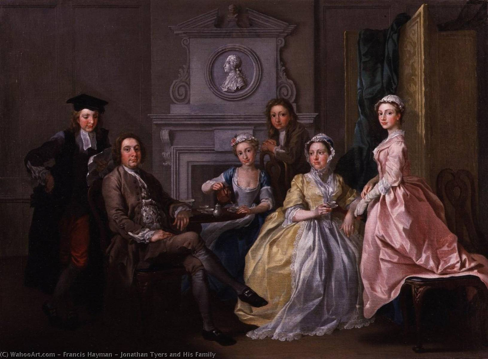 Order Paintings Reproductions | Jonathan Tyers and His Family, 1740 by Francis Hayman (1708-1776, United Kingdom) | WahooArt.com