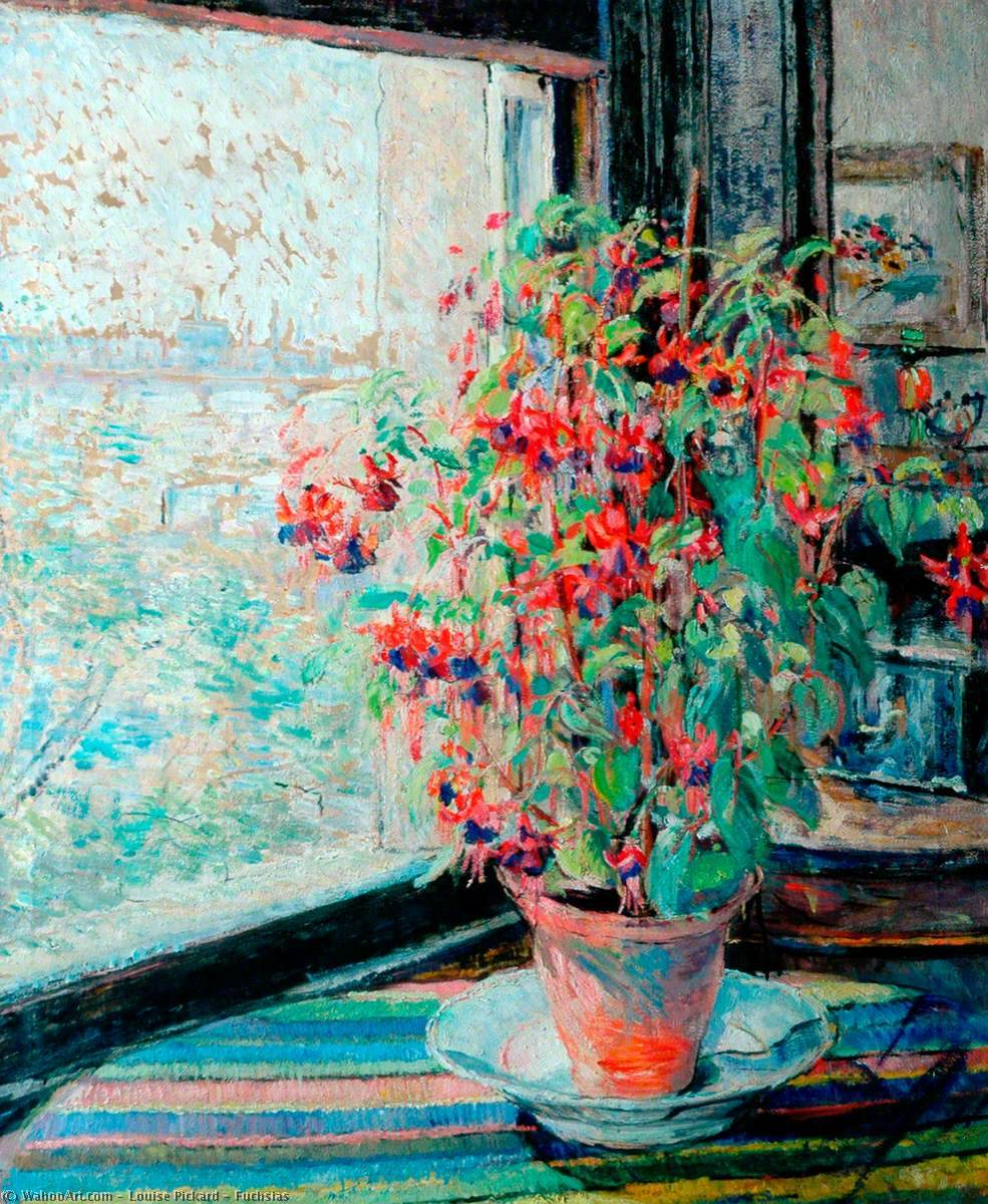 Fuchsias by Louise Pickard | Paintings Reproductions Louise Pickard | WahooArt.com