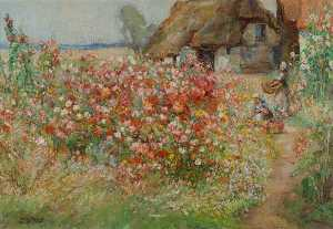 William Watt Milne - A Cottage Garden at Sawtry, Cambridgeshire