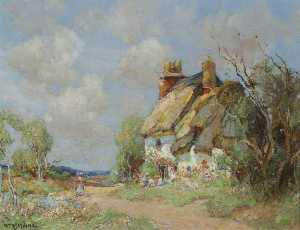 Order Reproductions | A Thatched Cottage at Houghton, Cambridgeshire by William Watt Milne | WahooArt.com