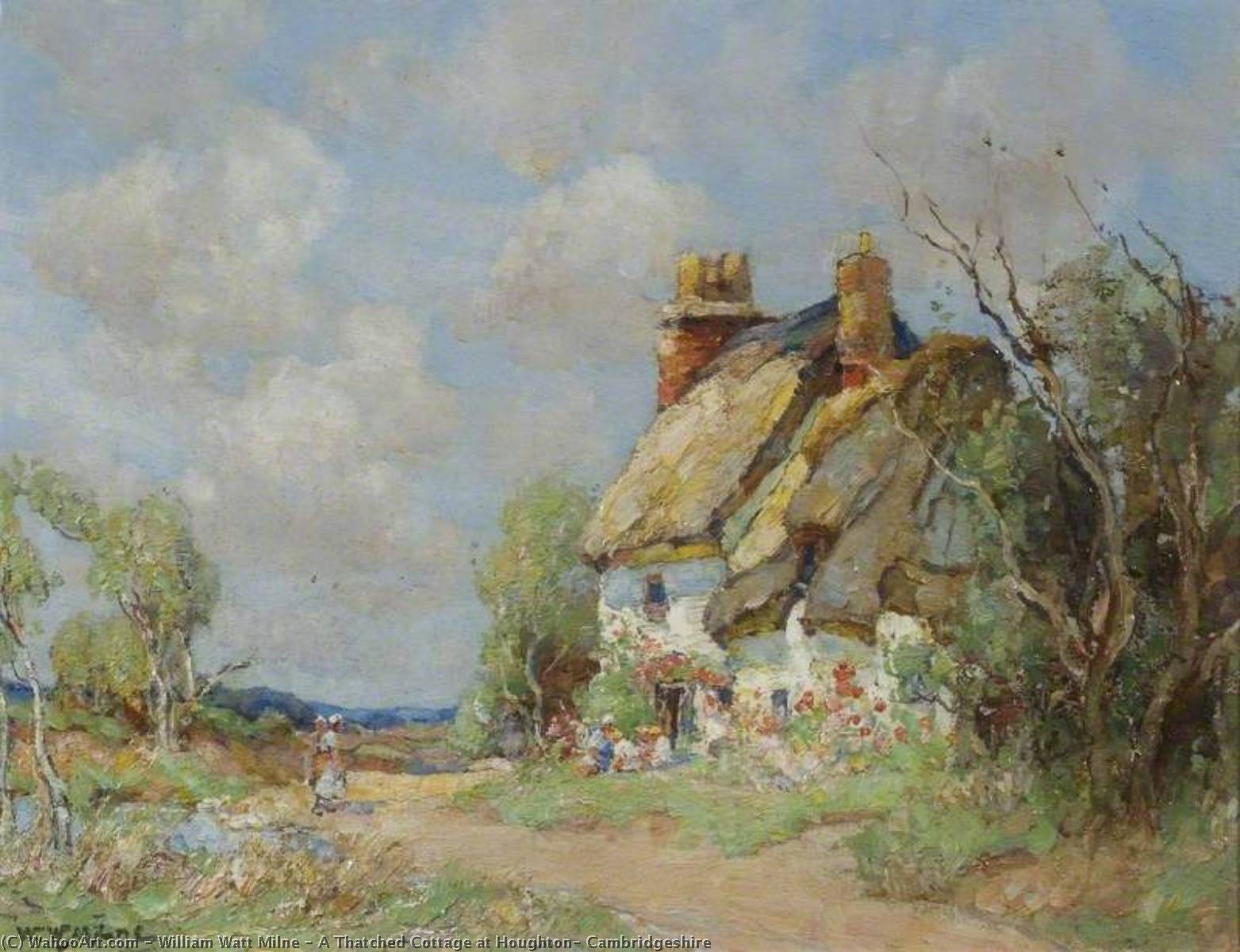 A Thatched Cottage at Houghton, Cambridgeshire by William Watt Milne | Reproductions William Watt Milne | WahooArt.com