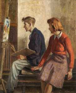 Order Painting Copy : The Students, 1950 by John Richardson Gauld | WahooArt.com