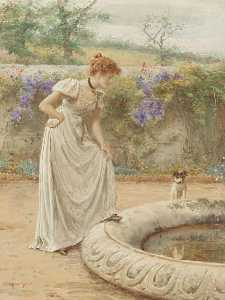 George Goodwin Kilburne - A lady and her dog looking into a fish pond