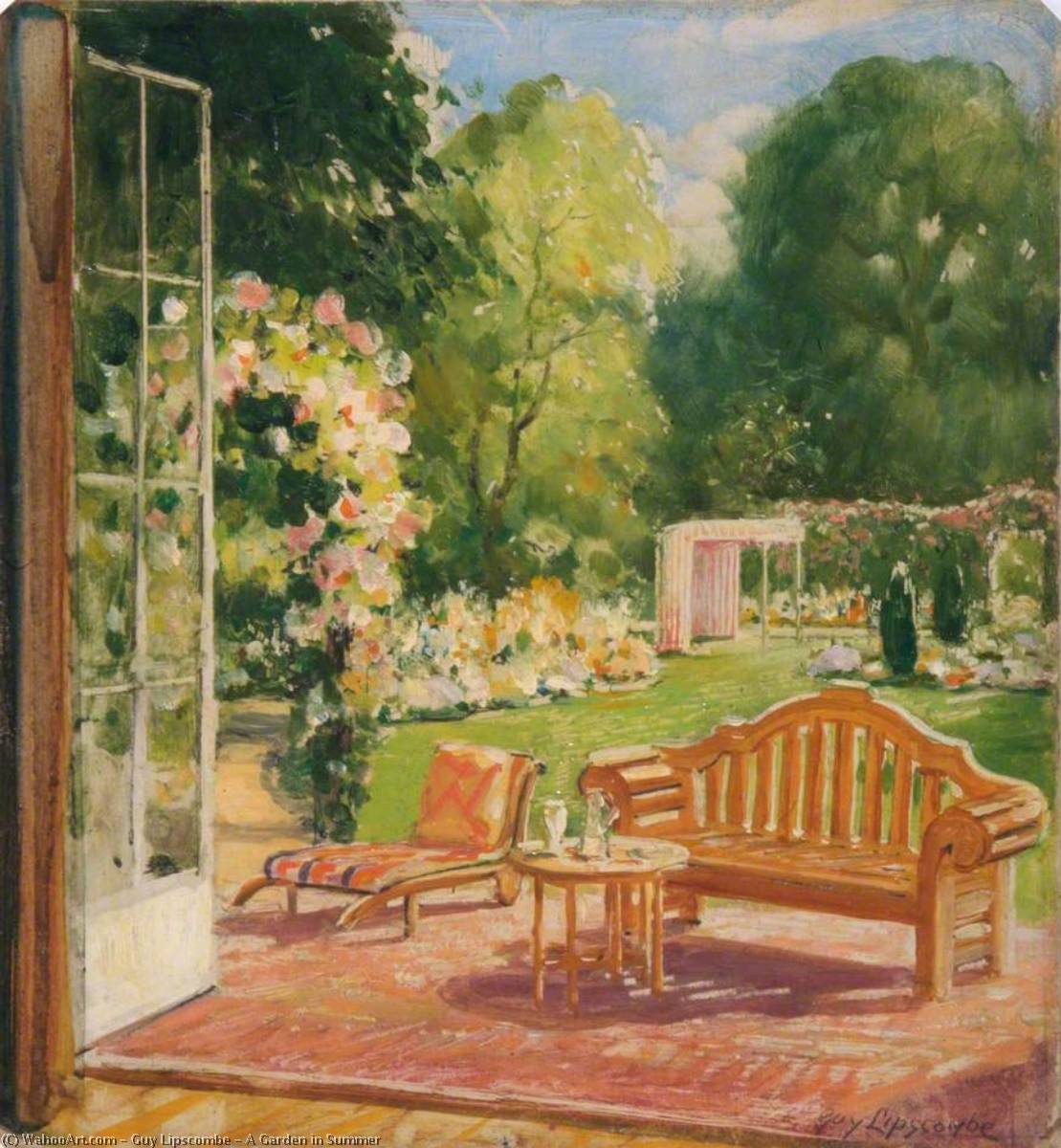 A Garden in Summer, 1930 by Guy Lipscombe | Oil Painting | WahooArt.com