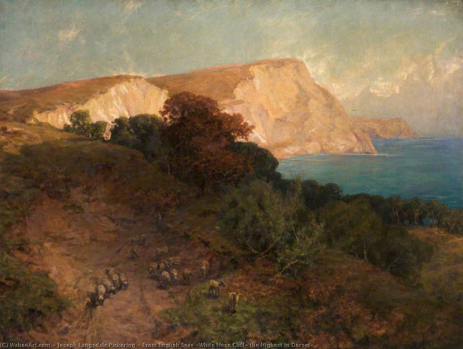 From English Seas (White Nose Cliff, the Highest in Dorset), Oil On Canvas by Joseph Langsdale Pickering