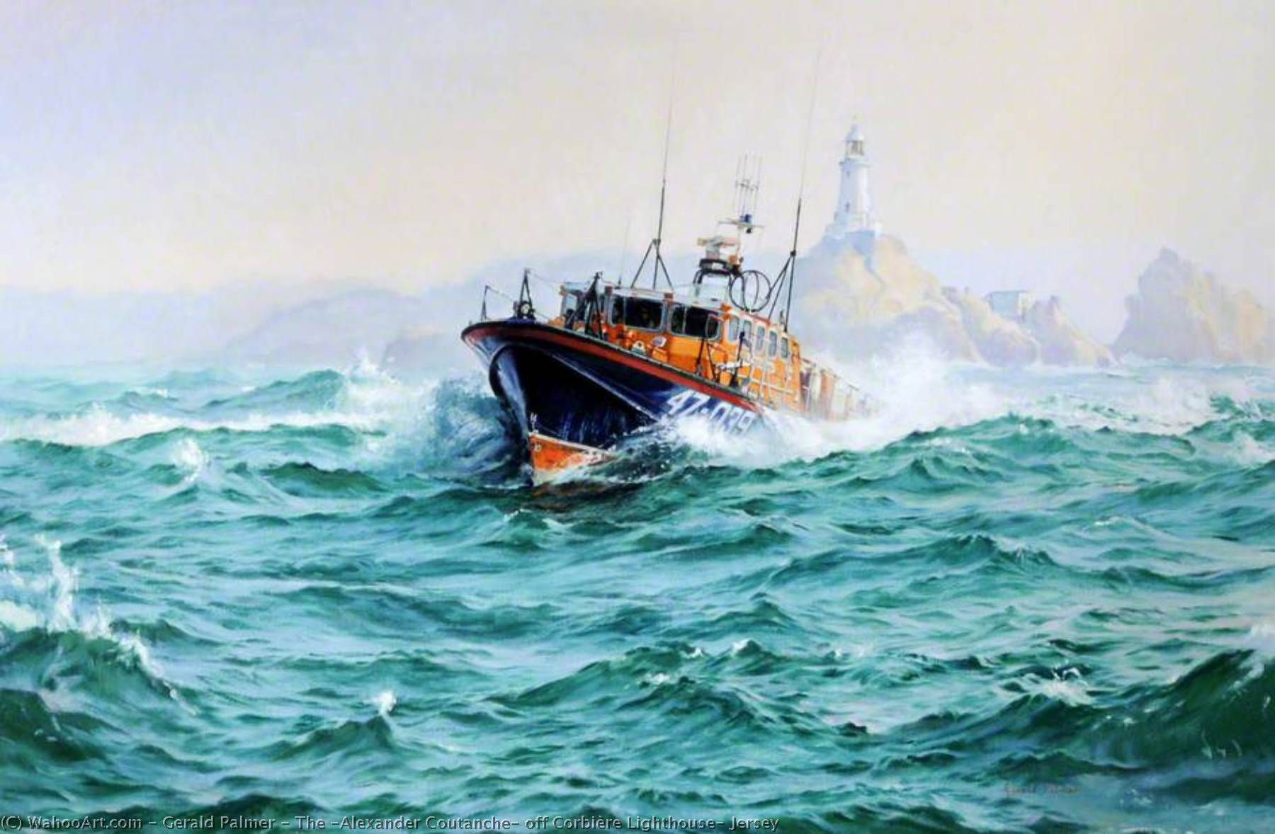 The `Alexander Coutanche` off Corbière Lighthouse, Jersey by Gerald Palmer | Famous Paintings Reproductions | WahooArt.com
