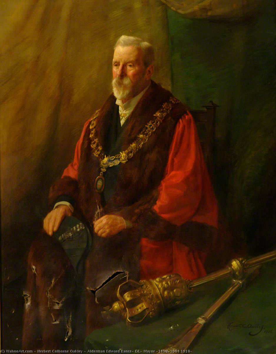 Alderman Edward Bance, DL, Mayor (1890–1904 1910), 1906 by Herbert Colborne Oakley | Oil Painting | WahooArt.com