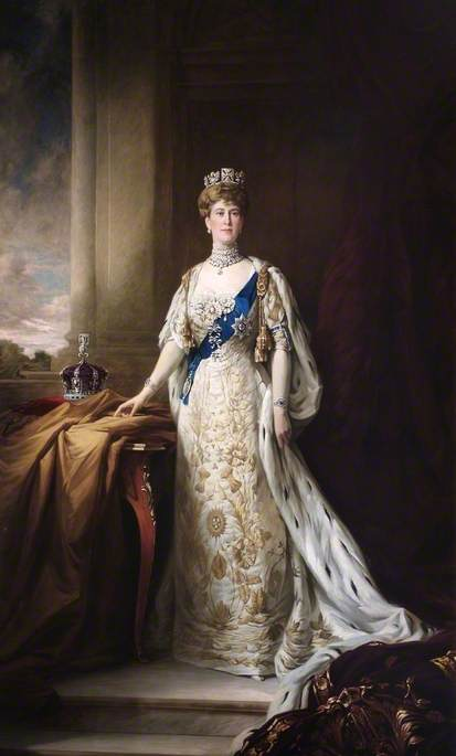 Queen Mary (1867–1953), Consort to George V (after William Samuel Henry Llewellyn), 1917 by Henry Macbeth Raeburn | Museum Quality Reproductions | WahooArt.com