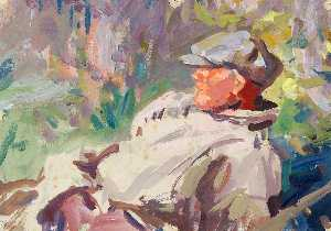 Harry Becker - A Reclining Man in a Cap