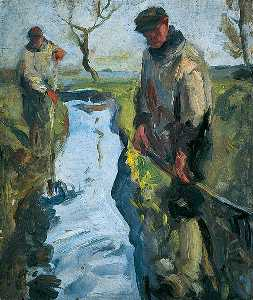Harry Becker - Two Men Clearing Banks