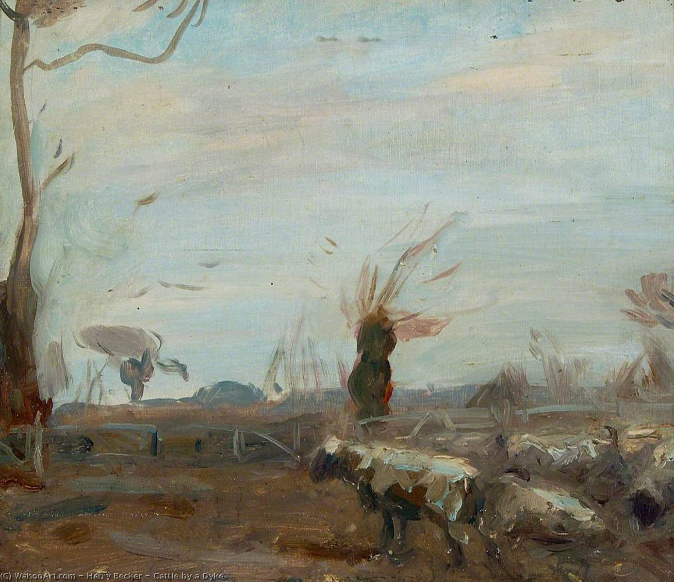 Order Paintings Reproductions | Cattle by a Dyke, 1928 by Harry Becker | WahooArt.com