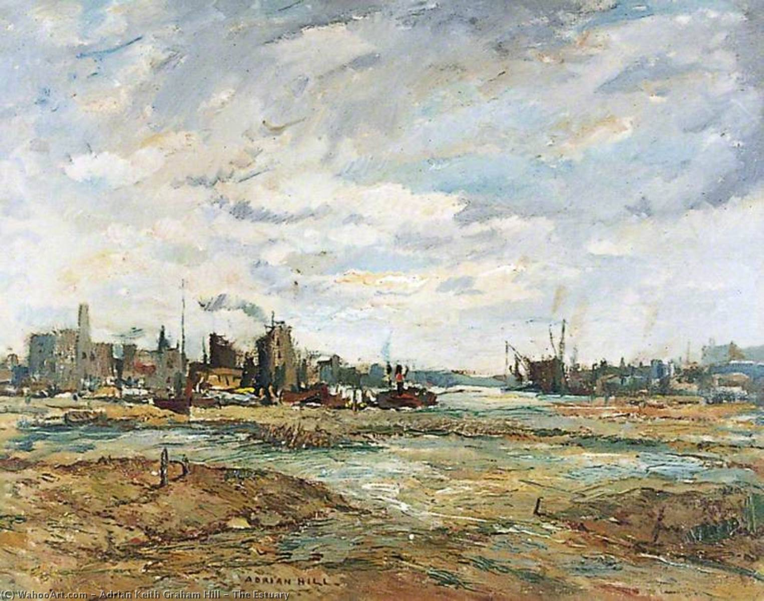 The Estuary, 1949 by Adrian Keith Graham Hill | WahooArt.com