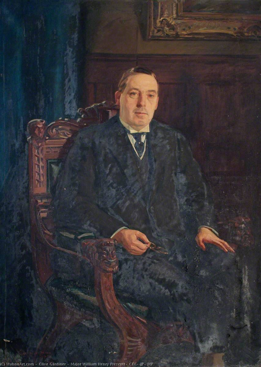 Major William Henry Prescott, CBE, JP, MP, Oil On Canvas by Clive Gardiner