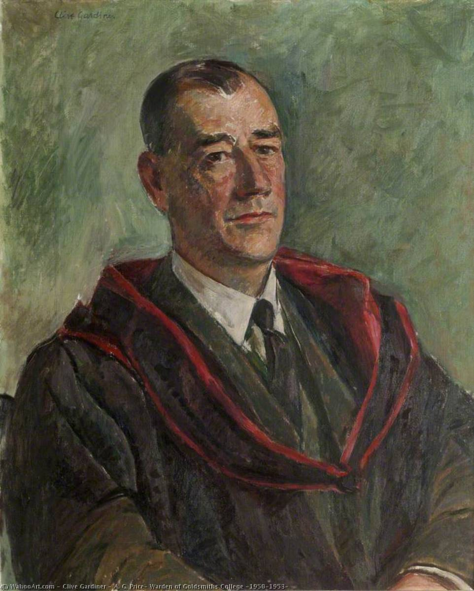 A. G. Price, Warden of Goldsmiths College (1950–1953) by Clive Gardiner | Paintings Reproductions Clive Gardiner | WahooArt.com