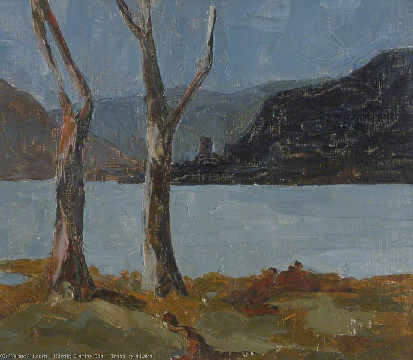Trees by a Lake, Oil by Harold Stanley Ede