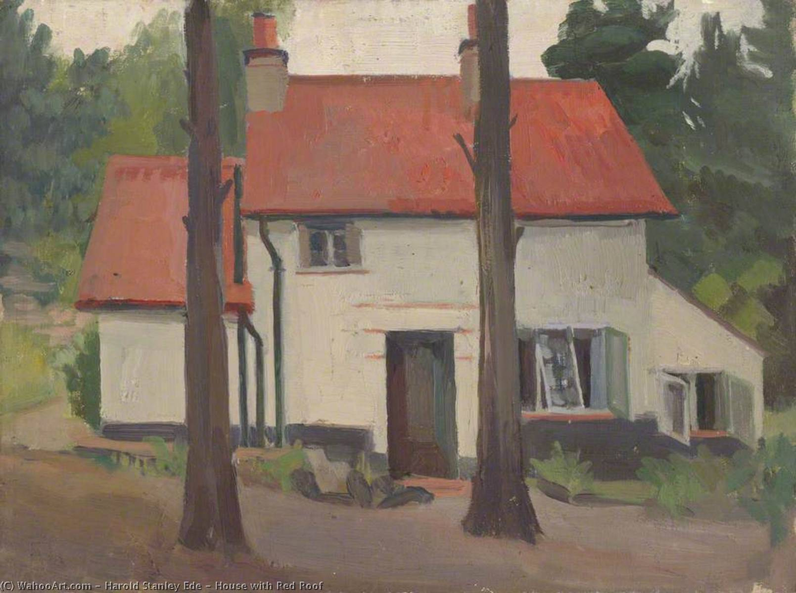 House with Red Roof, 1928 by Harold Stanley Ede | WahooArt.com