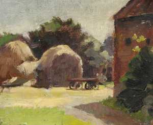 Vincent Galloway - Outdoor Sketch with Haystacks