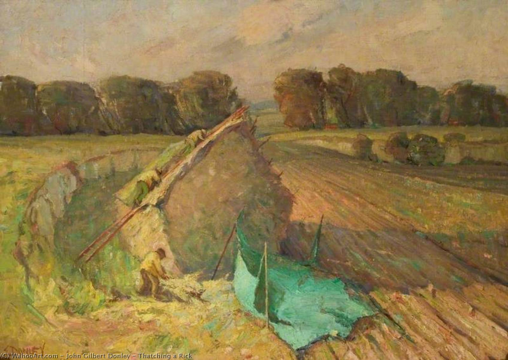 Thatching a Rick, Oil On Canvas by John Gilbert Donley