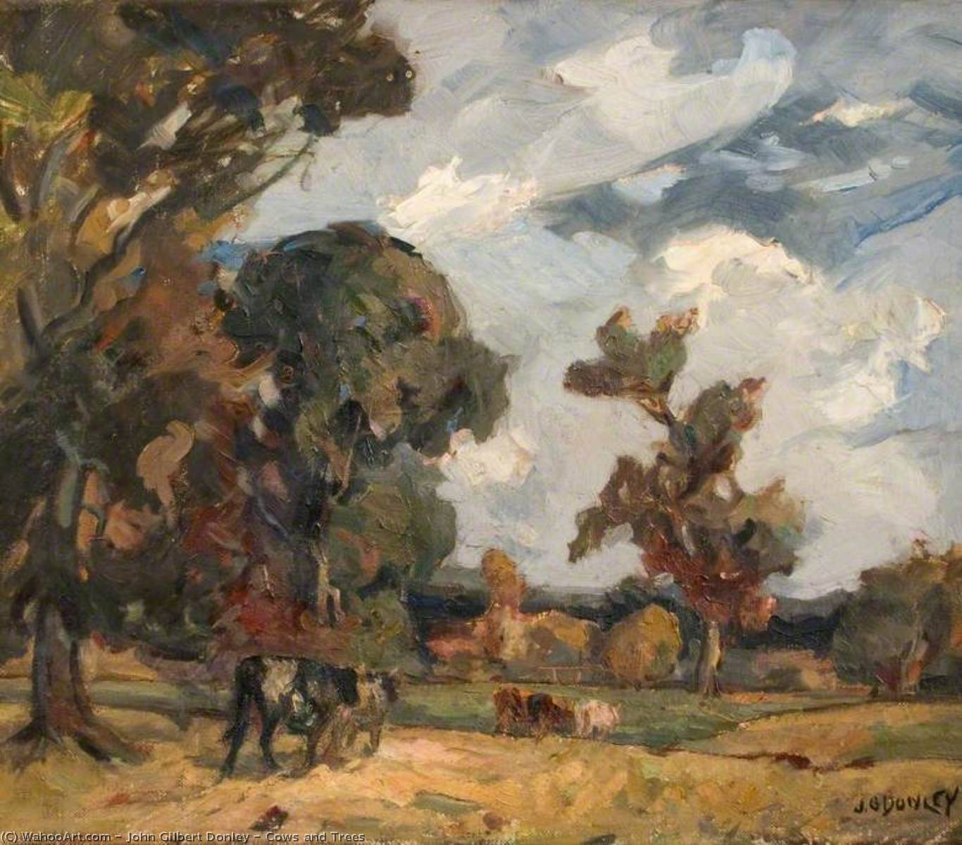 Cows and Trees, Oil On Canvas by John Gilbert Donley