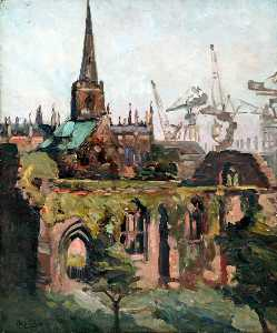 Philip Stuart Paice - View of Birkenhead Priory, Wirral
