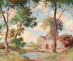 Order Art Reproductions | The Farm Pool by Percy Lancaster | WahooArt.com