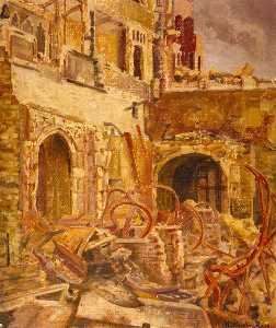 Vivian Charles Hardingham - Houses of Parliament Debating Chamber Looking South West, Bomb Damage, 1941