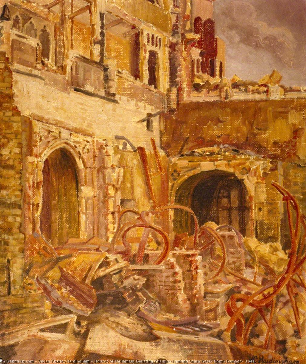 Houses of Parliament Debating Chamber Looking South West, Bomb Damage, 1941, 1941 by Vivian Charles Hardingham | Art Reproduction | WahooArt.com