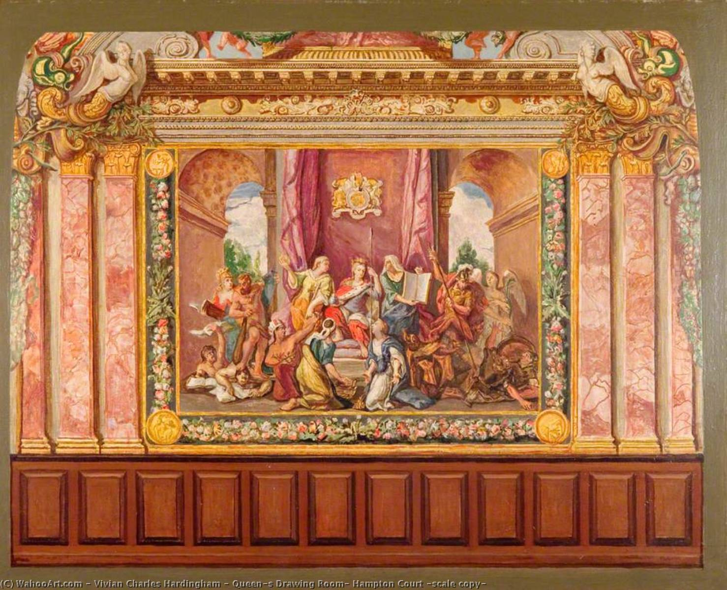 Queen`s Drawing Room, Hampton Court (scale copy) by Vivian Charles Hardingham | Oil Painting | WahooArt.com