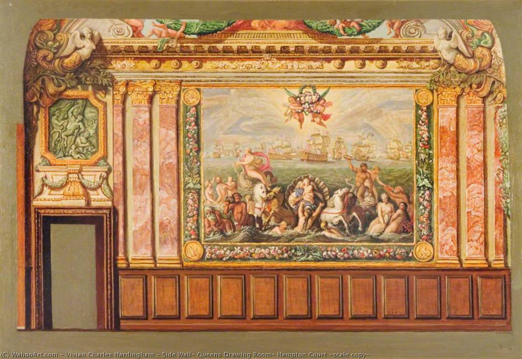 Side Wall, Queens Drawing Room, Hampton Court (scale copy) by Vivian Charles Hardingham | WahooArt.com