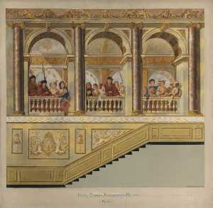Vivian Charles Hardingham - King's Stairs, Kensington Palace, North Wall (copy after William Kent)