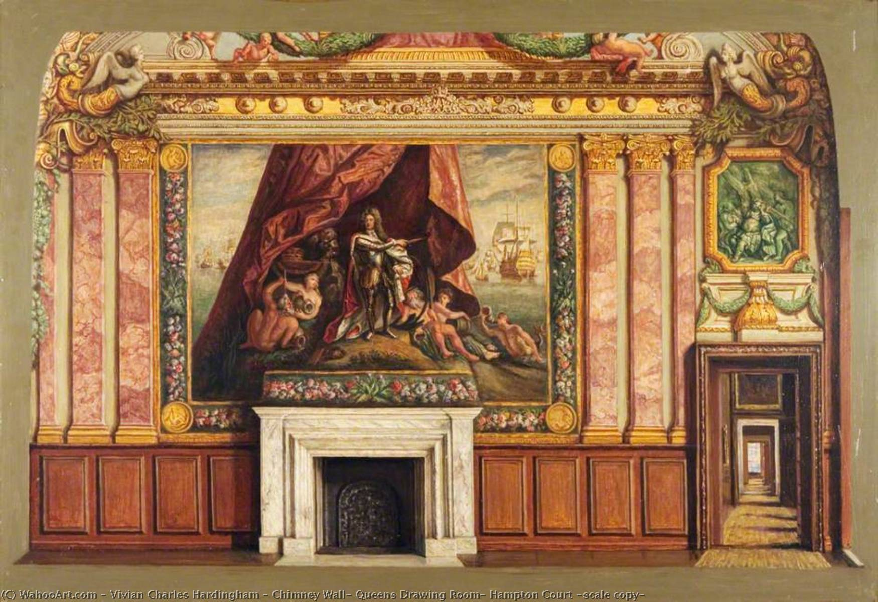 Chimney Wall, Queens Drawing Room, Hampton Court (scale copy), Oil by Vivian Charles Hardingham