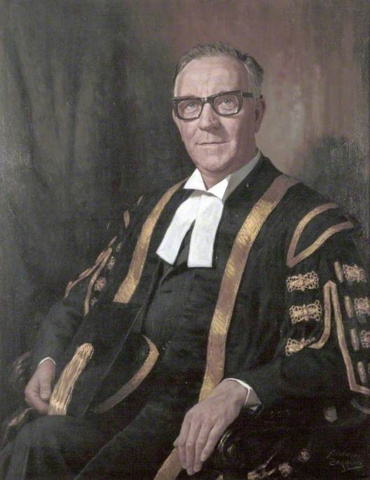 Winston Herbert Frederick Barnes (b.1909), MA, DCL, Vice Chancellor of University of Liverpool (1963–1969) by Howard Barron | Paintings Reproductions Howard Barron | WahooArt.com