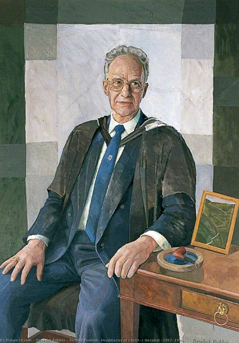 Richard Poulton, Headmaster of Christ's Hospital (1987–1996), Oil On Canvas by Benedict Rubbra