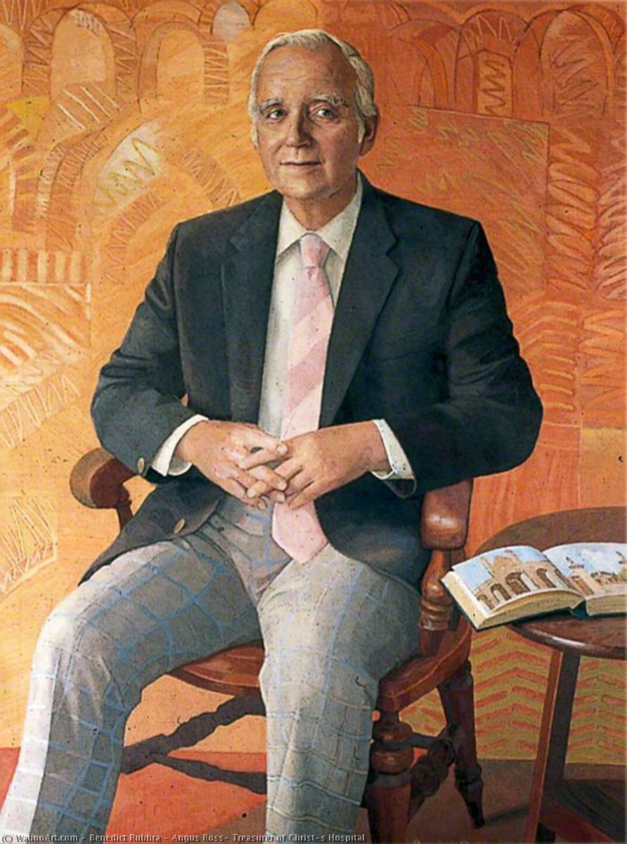 Angus Ross, Treasurer of Christ's Hospital, Oil On Canvas by Benedict Rubbra