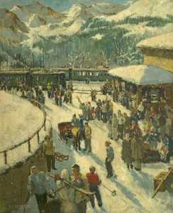 Millicent Emily Ayrton - Wengen Station, Switzerland