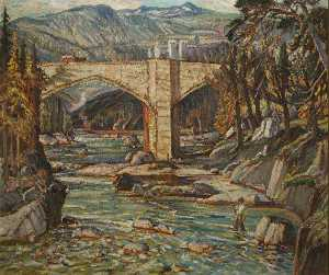 Tom Anderton - Fisherman, Upland Landscape with Bridge (1)