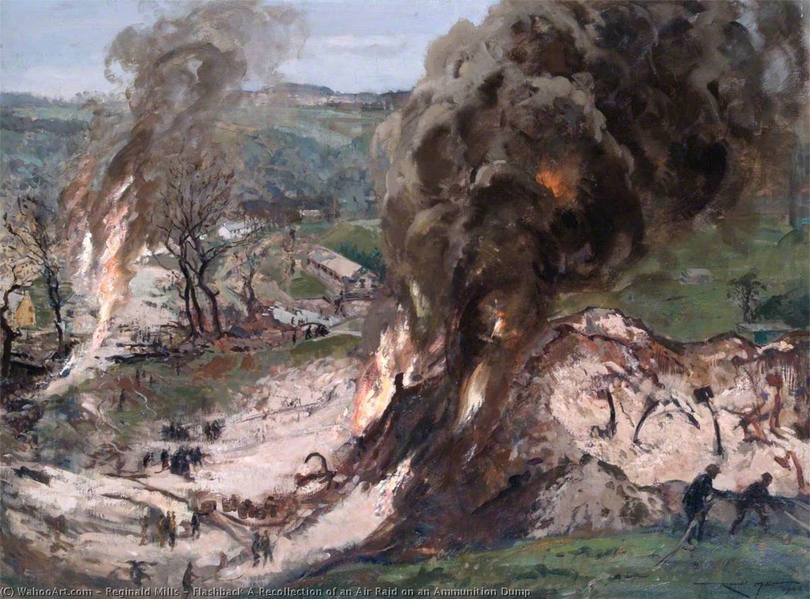 Flashback A Recollection of an Air Raid on an Ammunition Dump, Oil On Canvas by Reginald Mills
