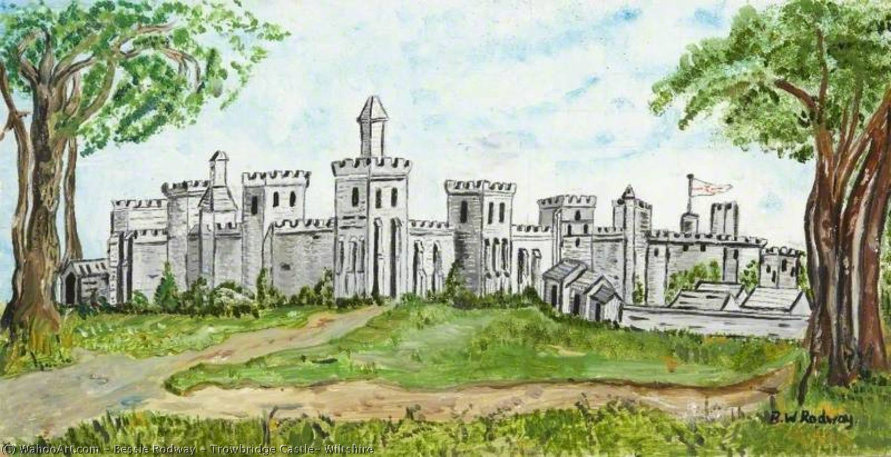 Order Paintings Reproductions | Trowbridge Castle, Wiltshire by Bessie Rodway | WahooArt.com