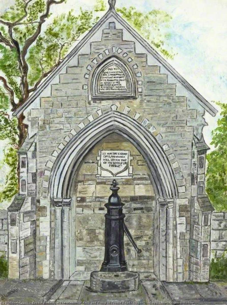 The Memorial Arch and Pump in Frome Road, Upper Studley, Trowbridge, Wiltshire by Bessie Rodway | Paintings Reproductions Bessie Rodway | WahooArt.com