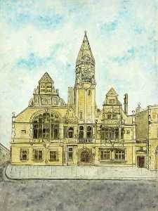 Bessie Rodway - The Front of the Town Hall, Trowbridge, Wiltshire (opened, 1889)