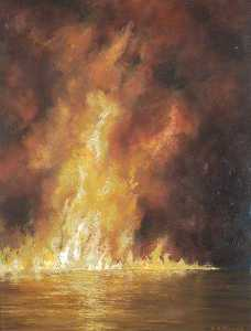 Wilfred Stanley Haines - Burning Oil on a Slack Tide
