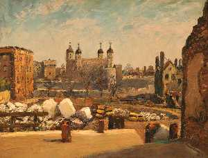 Piero Sansalvadore - The Tower of London from a Bombed Site