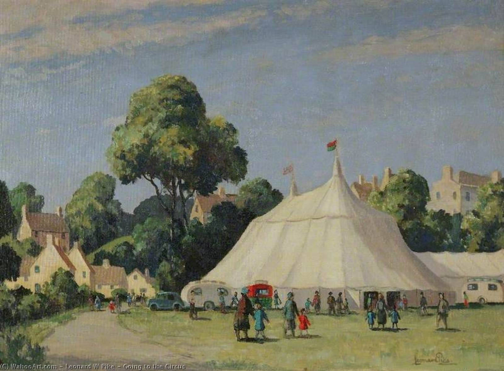 Going to the Circus, 1940 by Leonard W Pike | Art Reproductions Leonard W Pike | WahooArt.com
