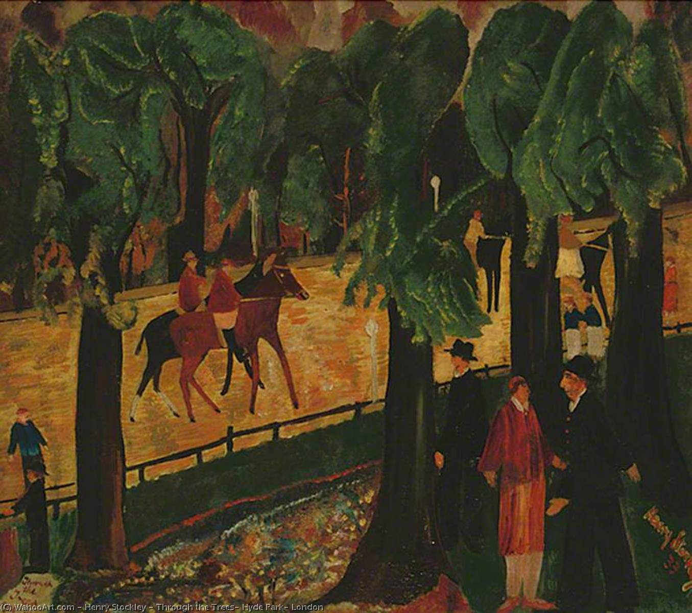 Through the Trees, Hyde Park, London, 1933 by Henry Stockley | Oil Painting | WahooArt.com