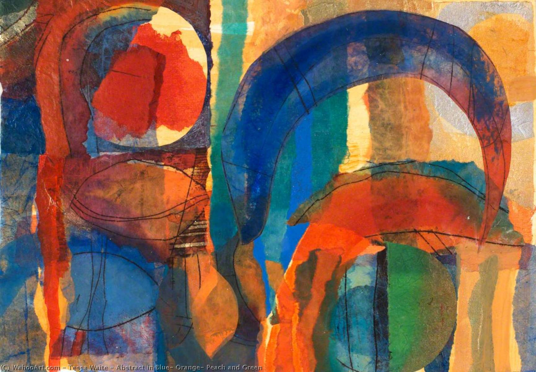 Abstract in Blue, Orange, Peach and Green, Paper by Tessa Waite